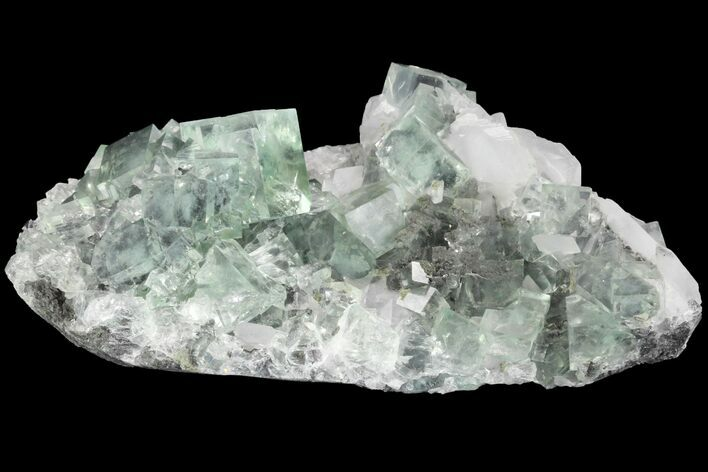 "5.5"" Green Cubic Fluorite and Calcite Crystal Cluster - Fluorescent!"