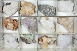 Mixed Indian Mineral & Crystal Flat - 12 Pieces For Sale, #95600