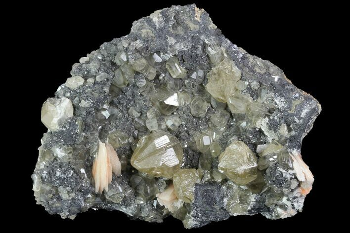 "3.5"" Cerussite Crystals with Bladed Barite on Galena - Morocco"