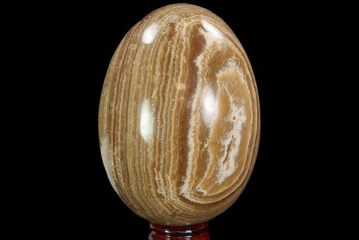 "5.4"" Polished, Banded Aragonite Egg - Morocco"