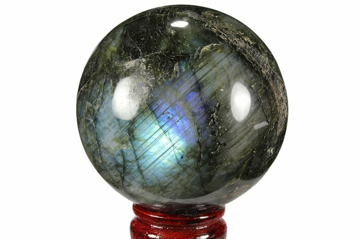 "3.25"" Flashy, Polished Labradorite Sphere - Great Color Play"