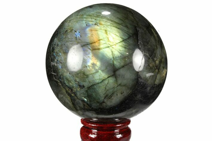 "Bargain, 3.65"" Flashy, Polished Labradorite Sphere - Great Color Play"