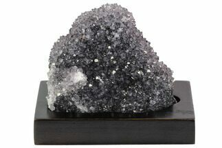 "3.8"" Wide, Purple Amethyst Crystal Cluster On Wood Base - Uruguay For Sale, #101450"