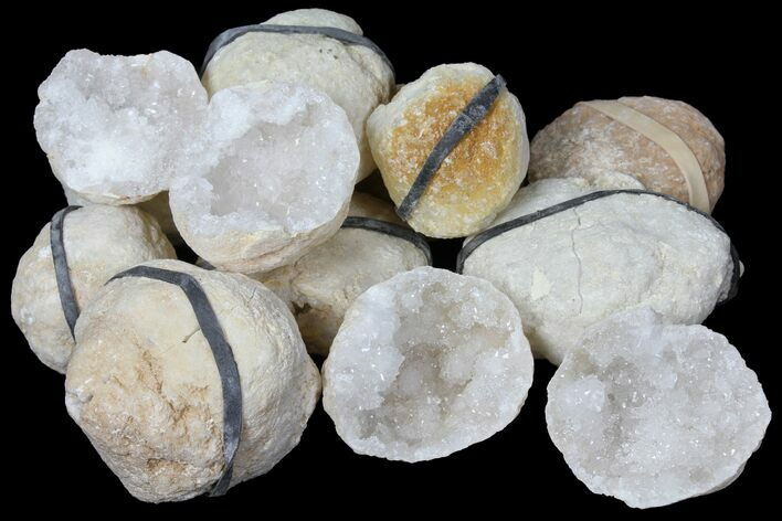 "Wholesale Lot: 1.25"" to 2.5"" Sparkling Quartz Geodes - 130 Geodes"