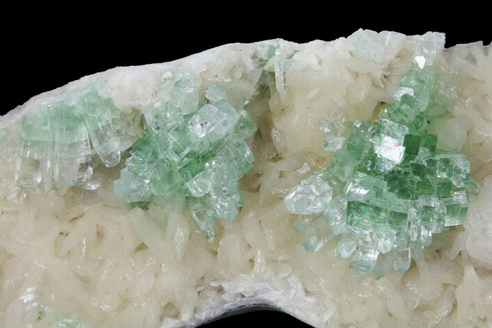"5.4"" Green Apophyllite Flowers on Peach Stilbite - India"