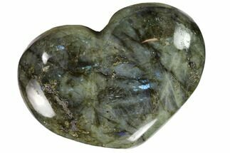"4.6"" Flashy Polished Labradorite Heart For Sale, #62942"