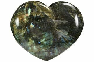 "5.0"" Flashy Polished Labradorite Heart For Sale, #62945"