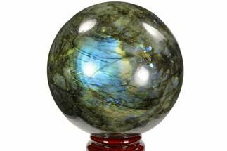 "3.7"" Flashy, Polished Labradorite Sphere - Great Color Play For Sale, #103679"