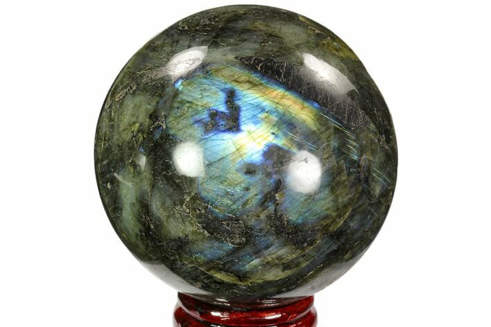 "4.3"" Flashy, Polished Labradorite Sphere - Great Color Play"