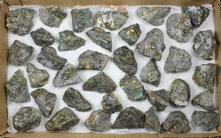 Wholesale Lot: 38 Pieces Peacock Ore (Chalcopyrite) - Morocco