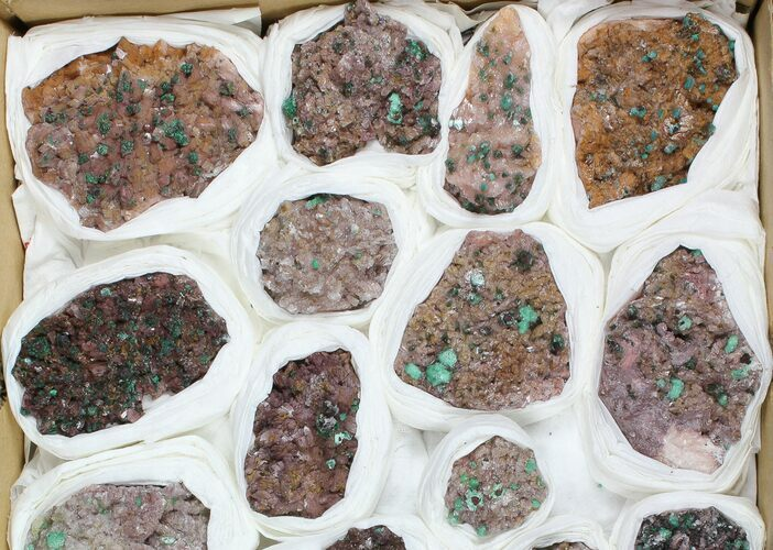 "Wholesale Flat: 1-3"" Rosasite & Selenite On Dolomite - 23 Pieces"