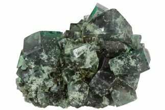 "2.1"" Fluorescent, Green, Fluorite Crystal Cluster -  Rogerley Mine For Sale, #106106"