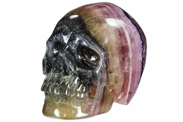 "5.9"" Colorful, Banded (Rainbow) Fluorite Skull"