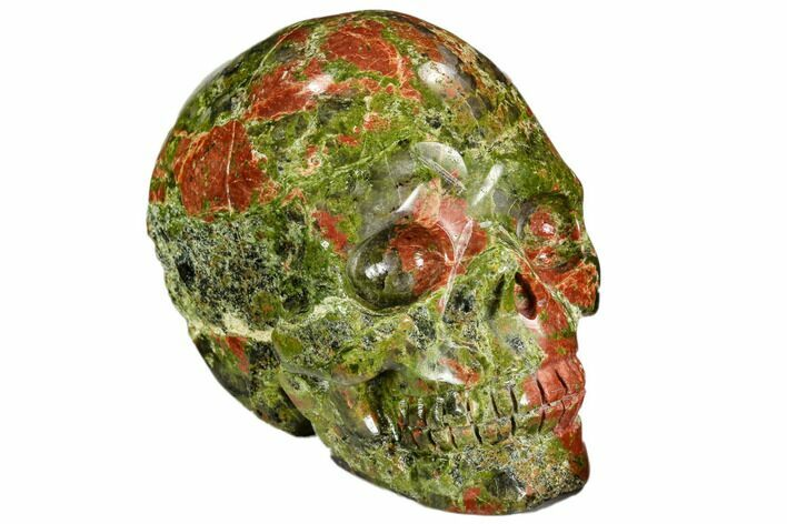 "2.5"" Carved, Unakite Skull - South Africa"