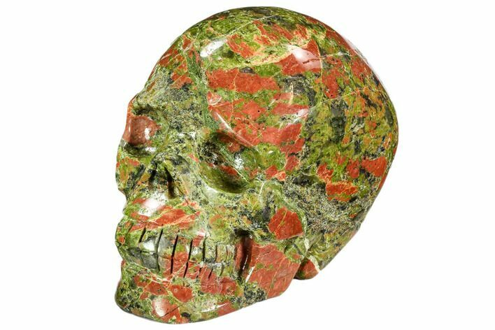 "3.9"" Carved, Unakite Skull - South Africa"