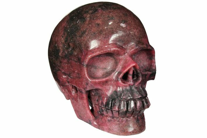 "5.2"" Realistic, Carved Rhodonite Skull - Madagascar"