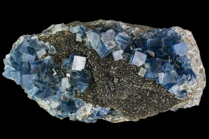 "4.8"" Blue Cubic Fluorite on Quartz - China"