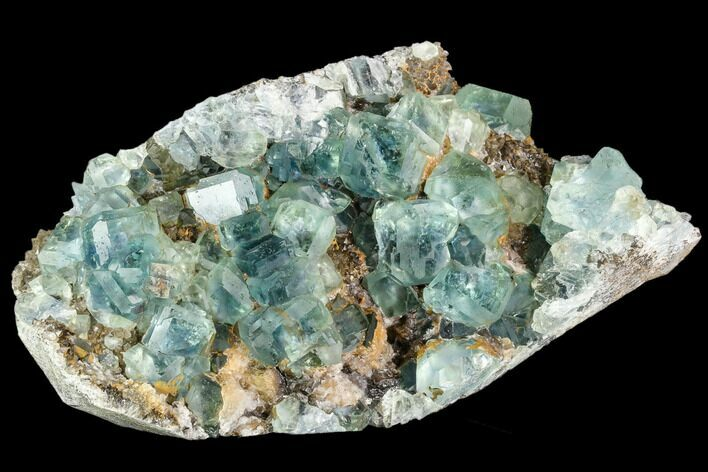 "6.3"" Plate Of Green Fluorite Crystals on Quartz - China"