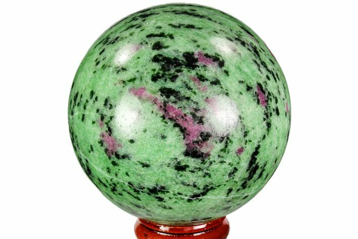 "2.6"" Polished Ruby Zoisite Sphere - Tanzania"