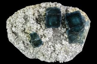 "4.2"" Cubic, Blue-Green Fluorite Crystals on Quartz - China For Sale, #112418"