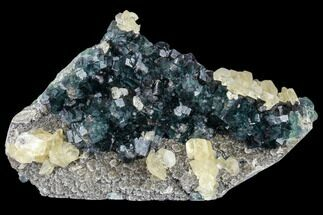 "8.2"" Green Fluorite and Yellow Calcite on Quartz - Fluorescent! For Sale, #112871"