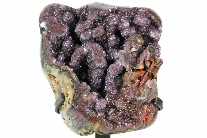 "8.2"" Unique, Amethyst Geode Section on Metal Stand - Uruguay"