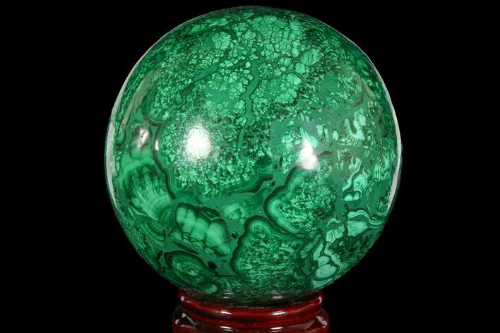 "3.9"" Flowery, Polished Malachite Sphere - Congo"