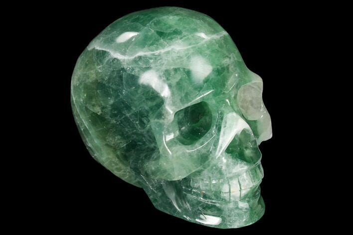 "3.5"" Realistic, Carved Green Fluorite Skull - China"