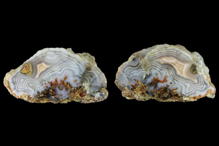 "3.5"" Cut/Polished Banded Laguna Agate Pair - Mexico"