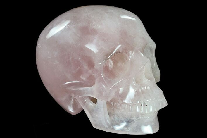 "6"" Realistic, Polished Brazilian Rose Quartz Crystal Skull"