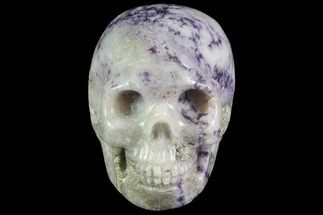 "Buy 2"" Realistic, Carved Chevron (Banded) Amethyst Skull  - #116482"