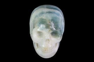 "2"" Realistic, Carved, White and Green Jade Skull  For Sale, #116564"