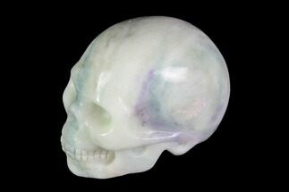 "Buy 2"" Realistic, Carved, White and Green Jade Skull  - #116566"