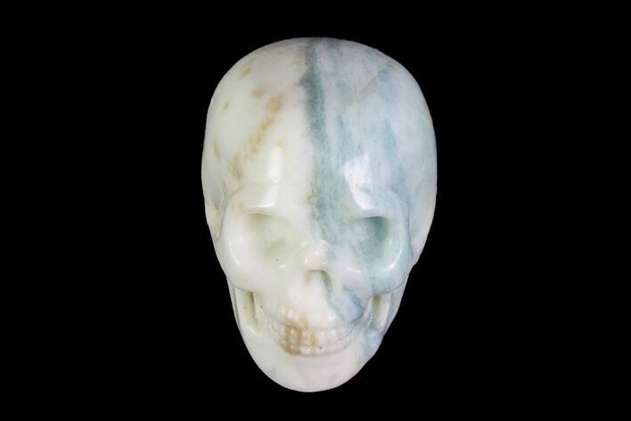 "1.9"" Realistic, Carved, White and Green Jade Skull"