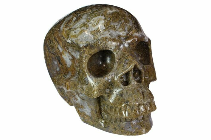 "6.35"" Realistic, Polished Moss Agate Skull"