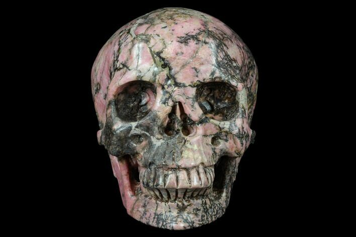 "4.9"" Realistic, Carved Rhodonite Skull - Madagascar"