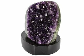 "Buy 4"" Tall, Dark Purple Amethyst Cluster On Wood Base - Uruguay - #113902"