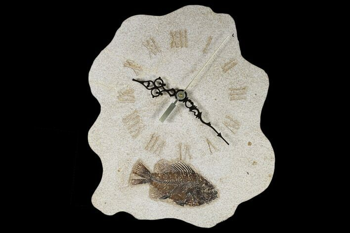 "10.3"" Tall Clock With Cockerellites Fish Fossil - Wyoming"