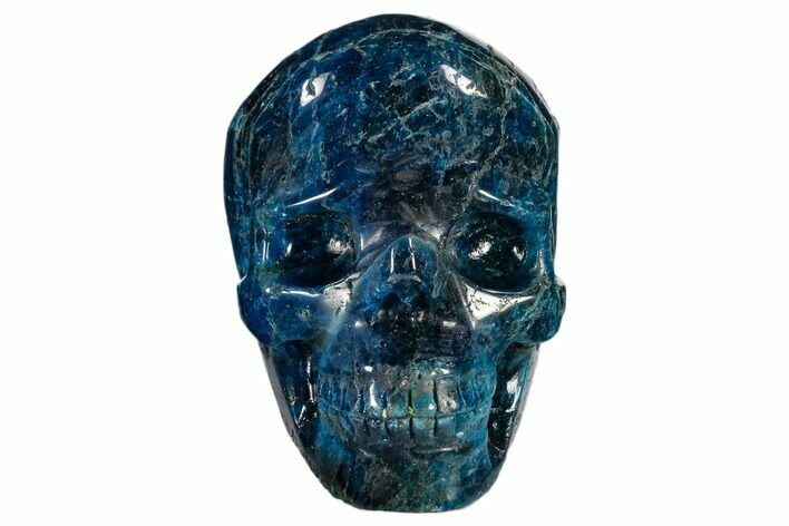 "3.3"" Polished, Bright Blue Apatite Skull - Madagascar"