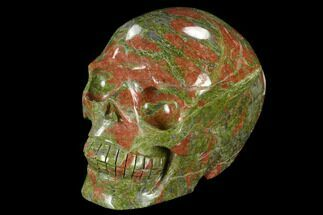 "4.5"" Carved, Unakite Skull - South Africa For Sale, #118109"