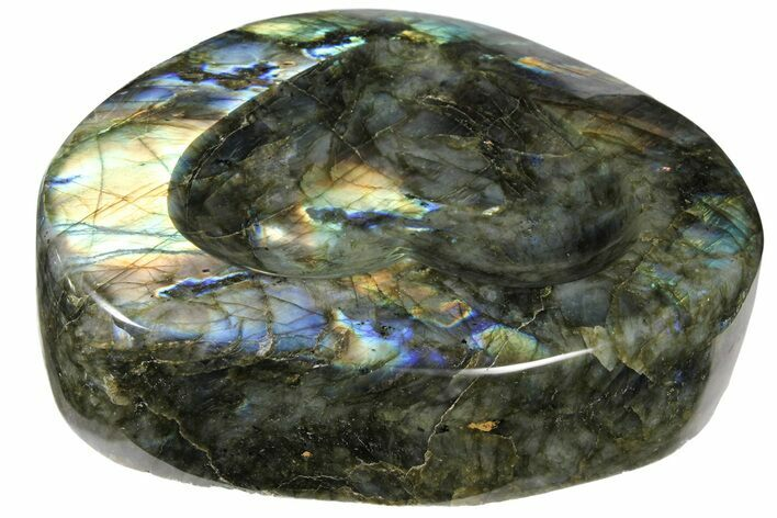 "7.2"" Flashy Labradorite Heart-Shaped Dish - Madagascar"