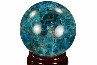 "2.25"" Bright Blue Apatite Sphere - Madagascar For Sale, #121802"
