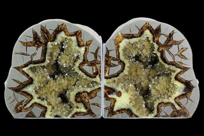 "5.8"" Tall, Crystal Filled Septarian Geode Bookends - Utah"
