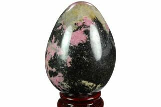 "3.3"" Polished Rhodonite Egg - Madagascar For Sale, #124121"