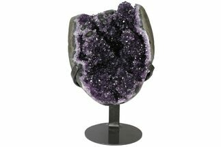 "8.6"" Tall, Amethyst Cluster With ""Stalactite"" Formations - Metal Stand For Sale, #126344"