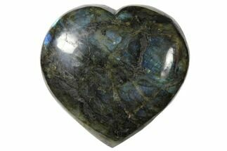"4.8"" Flashy Polished Labradorite Heart - Madagascar For Sale, #126692"