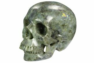 "5.9"" Realistic, Polished Labradorite Skull - Madagascar For Sale, #127574"