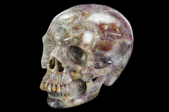 "4.9"" Realistic, Carved, Purple Fluorite Skull - China"