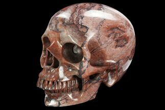 "Buy 5"" Realistic, Polished, Brecciated Red Jasper Skull  - #127606"