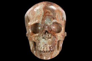 "6.1"" Realistic, Polished Red Picture Jasper Skull  For Sale, #127607"